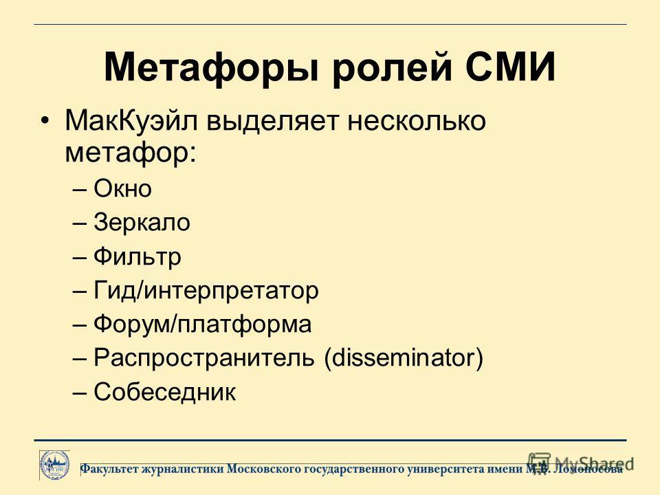 Метафоры ролей СМИ МакКуэйл выделяет несколько метафор: –Окно –Зеркало –Фильтр –Гид/интерпретатор –Форум/платформа –Распространитель (disseminator) –Собеседник