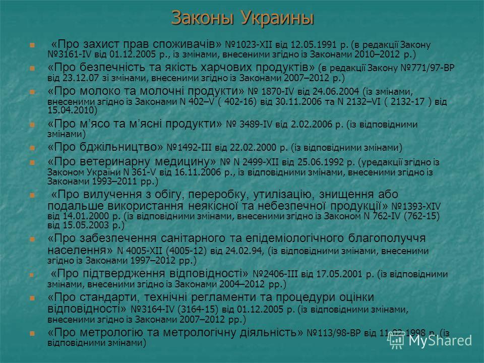 Законы Украины «Про захист прав споживачів» 1023-XII від 12.05.1991 р. (в редакції Закону 3161-IV від 01.12.2005 р., із змінами, внесеними згідно із Законами 2010–2012 р.) «Про безпечність та якість харчових продуктів» (в редакції Закону 771/97-ВР ві