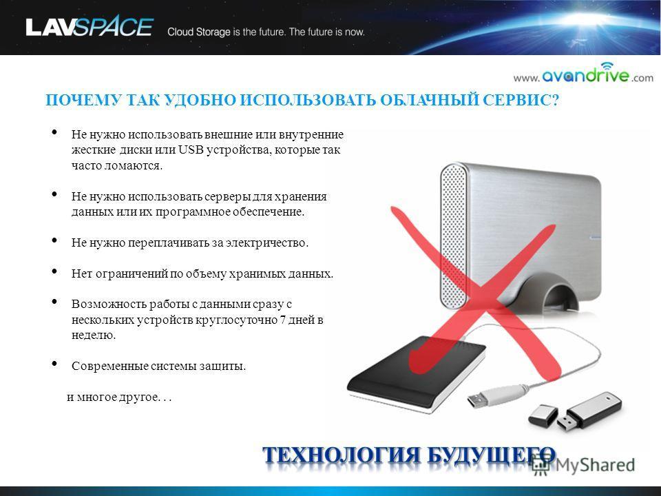 ПОЧЕМУ ТАК УДОБНО ИСПОЛЬЗОВАТЬ ОБЛАЧНЫЙ СЕРВИС? Не нужно использовать внешние или внутренние жесткие диски или USB устройства, которые так часто ломаются. Не нужно использовать серверы для хранения данных или их программное обеспечение. Не нужно пере