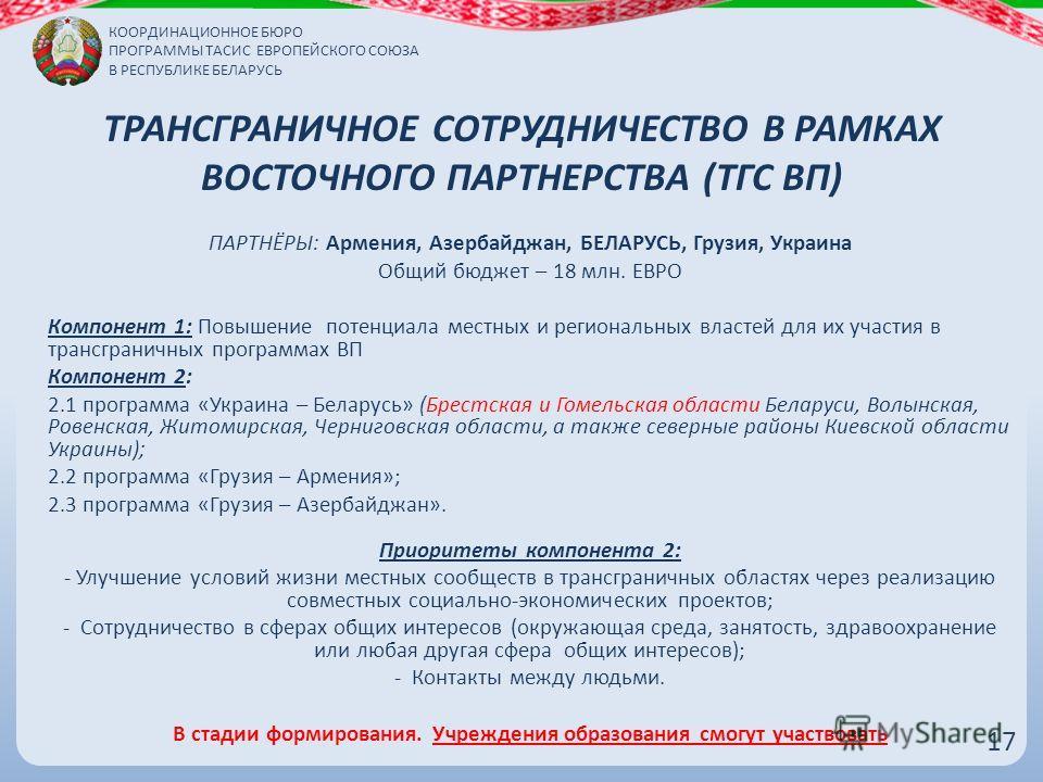 ТРАНСГРАНИЧНОЕ СОТРУДНИЧЕСТВО В РАМКАХ ВОСТОЧНОГО ПАРТНЕРСТВА (ТГС ВП) 1717 ПАРТНЁРЫ: Армения, Азербайджан, БЕЛАРУСЬ, Грузия, Украина Общий бюджет – 18 млн. ЕВРО Компонент 1: Повышение потенциала местных и региональных властей для их участия в трансг