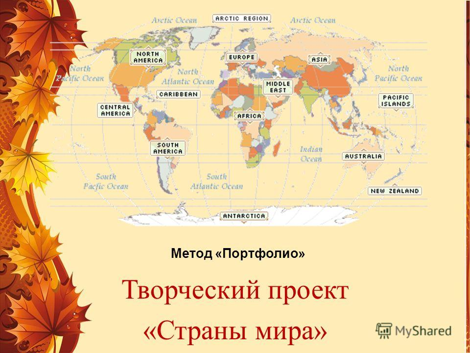 Метод «Портфолио» Творческий проект «Страны мира»