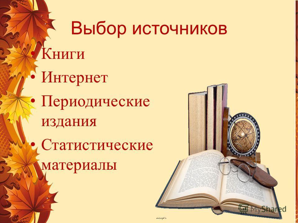 Выбор источников Книги Интернет Периодические издания Статистические материалы