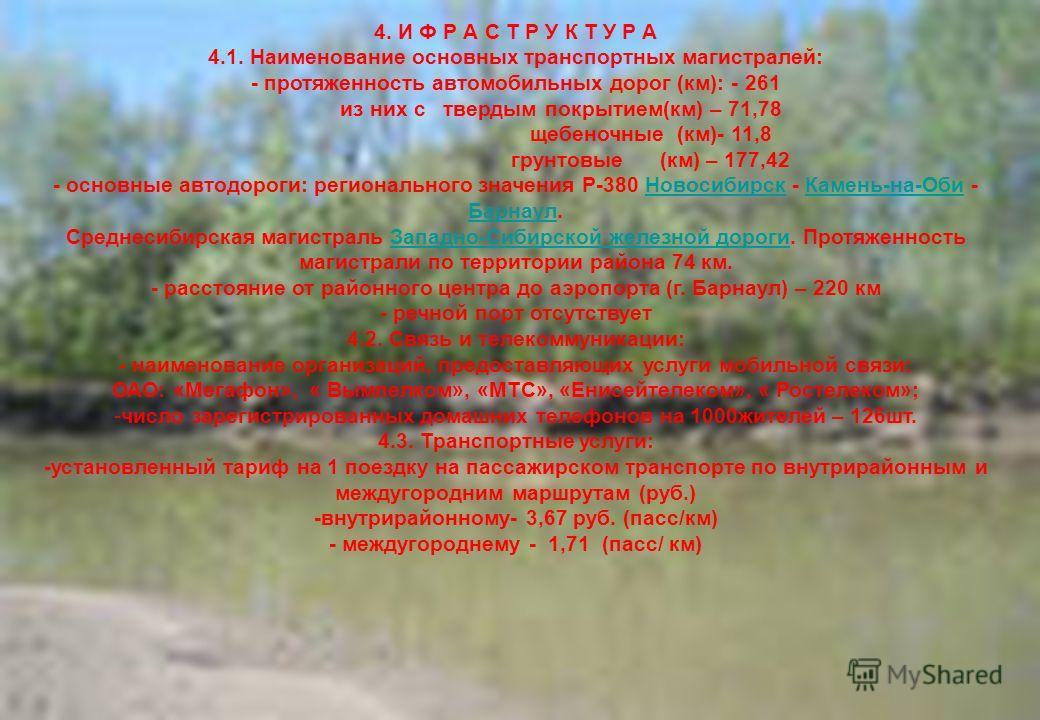 15 4. И Ф Р А С Т Р У К Т У Р А 4.1. Наименование основных транспортных магистралей: - протяженность автомобильных дорог (км): - 261 из них с твердым покрытием(км) – 71,78 щебеночные (км)- 11,8 грунтовые (км) – 177,42 - основные автодороги: региональ