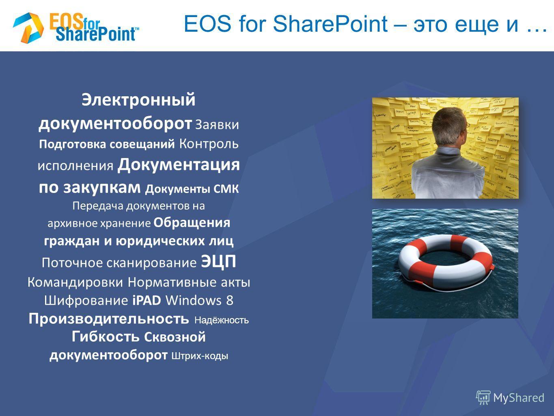 EOS for SharePoint – это еще и … Электронный документооборот Заявки Подготовка совещаний Контроль исполнения Документация по закупкам Документы СМК Передача документов на архивное хранение Обращения граждан и юридических лиц Поточное сканирование ЭЦП