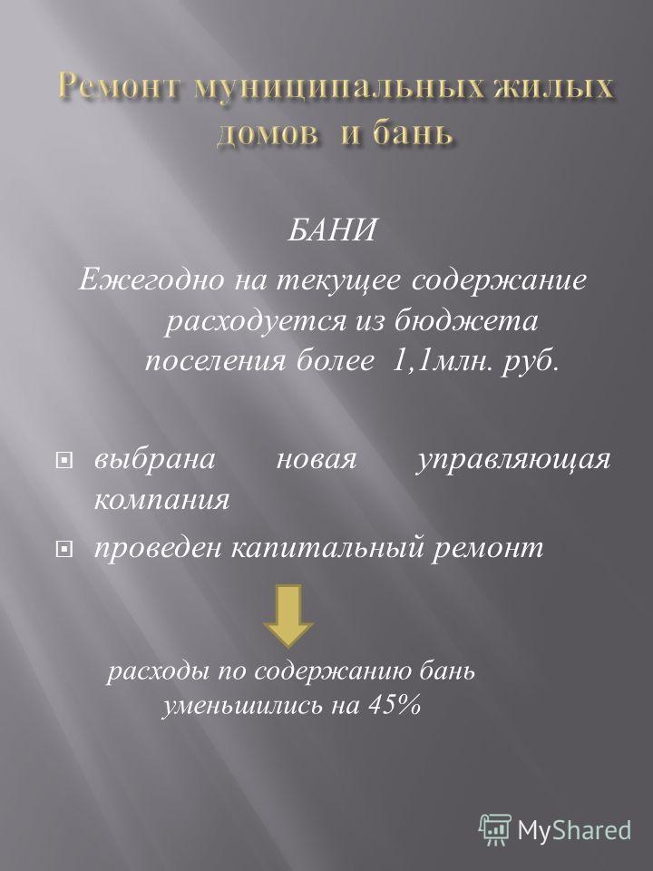 БАНИ Ежегодно на текущее содержание расходуется из бюджета поселения более 1,1 млн. руб. выбрана новая управляющая компания проведен капитальный ремонт расходы по содержанию бань уменьшились на 45%