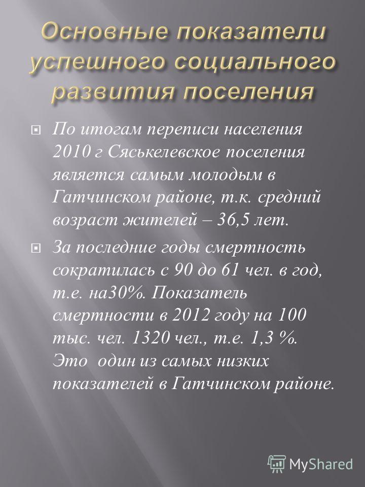 По итогам переписи населения 2010 г Сяськелевское поселения является самым молодым в Гатчинском районе, т. к. средний возраст жителей – 36,5 лет. За последние годы смертность сократилась с 90 до 61 чел. в год, т. е. на 30%. Показатель смертности в 20