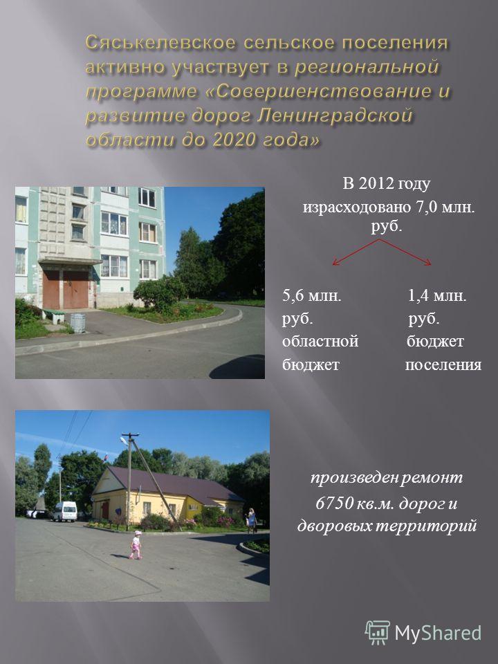В 2012 году израсходовано 7,0 млн. руб. 5,6 млн. 1,4 млн. руб. областной бюджет бюджет поселения произведен ремонт 6750 кв. м. дорог и дворовых территорий