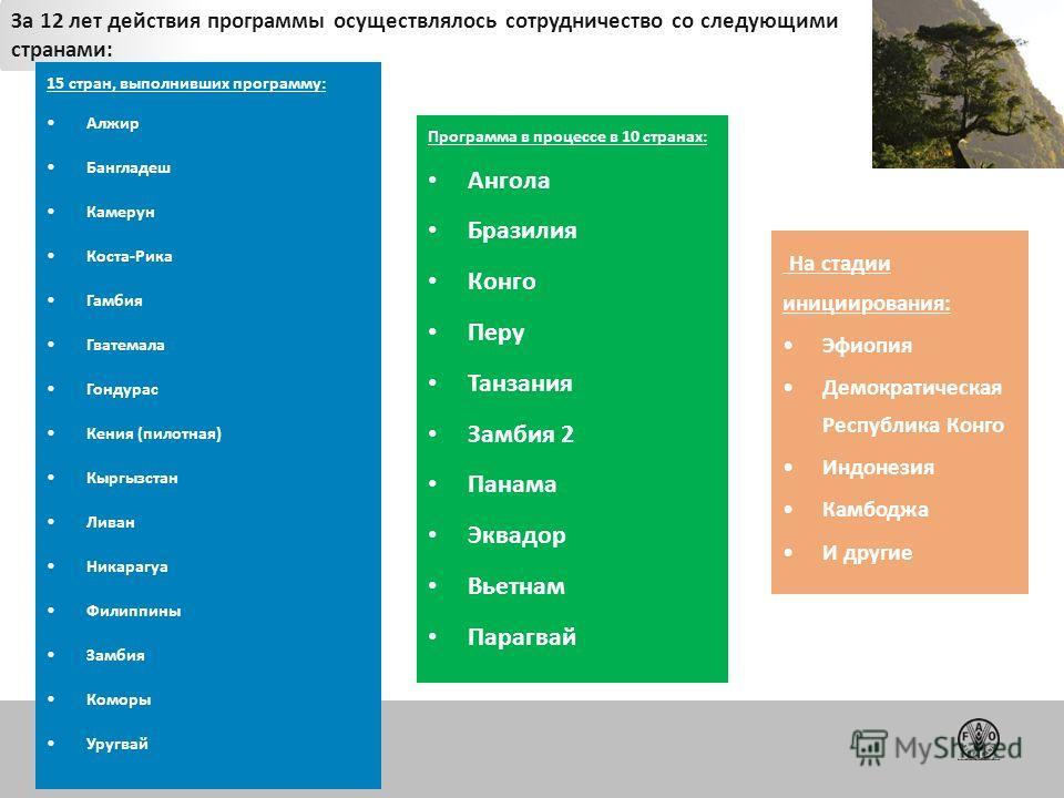 FAO Forestry За 12 лет действия программы осуществлялось сотрудничество со следующими странами: 15 стран, выполнивших программу: Алжир Бангладеш Камерун Коста-Рика Гамбия Гватемала Гондурас Кения (пилотная) Кыргызстан Ливан Никарагуа Филиппины Замбия