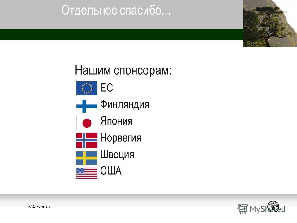 FAO Forestry Нашим спонсорам: ЕС Финляндия Япония Норвегия Швеция США Отдельное спасибо...