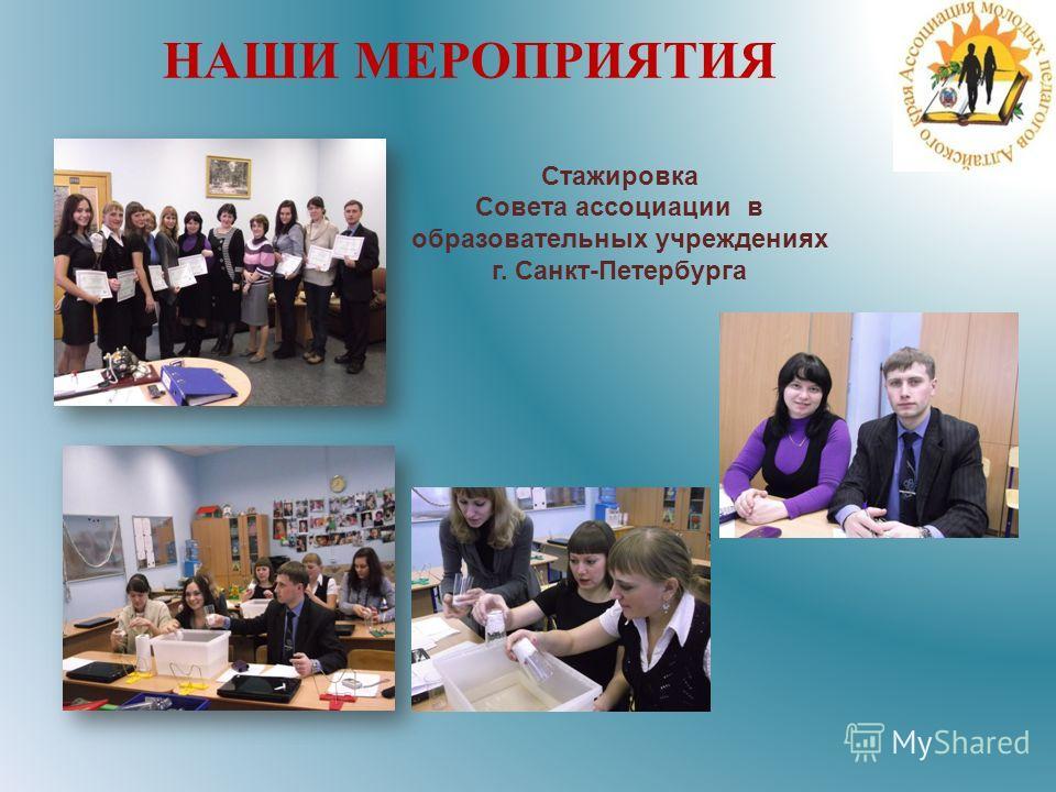 Стажировка Совета ассоциации в образовательных учреждениях г. Санкт-Петербурга НАШИ МЕРОПРИЯТИЯ