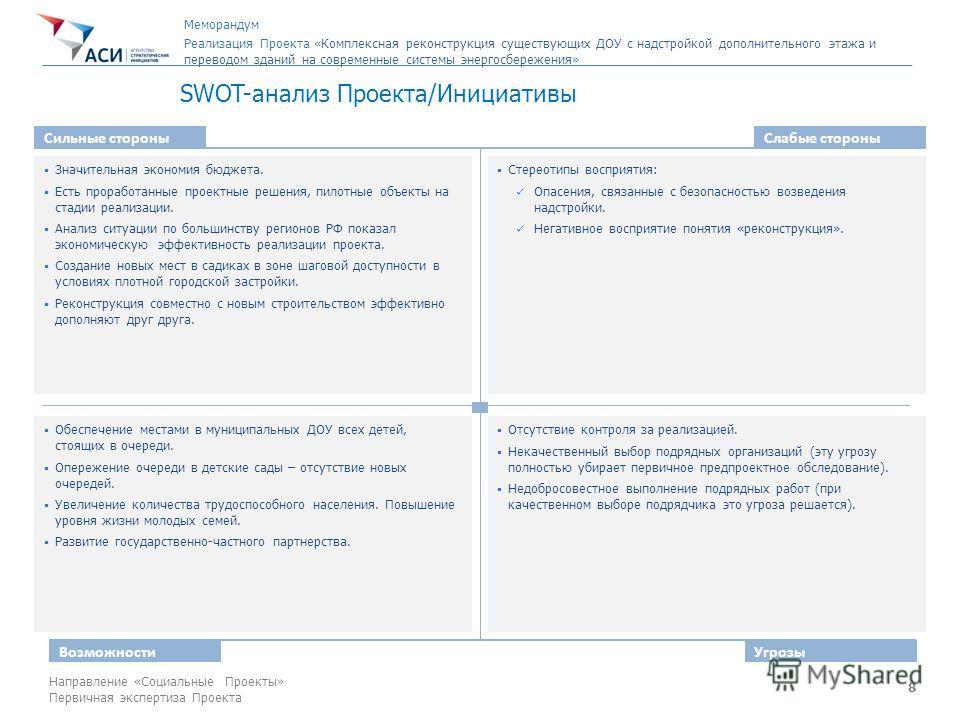 8 Направление «Социальные Проекты» Первичная экспертиза Проекта SWOT-анализ Проекта/Инициативы Сильные стороныСлабые стороны ВозможностиУгрозы Значительная экономия бюджета. Есть проработанные проектные решения, пилотные объекты на стадии реализации.