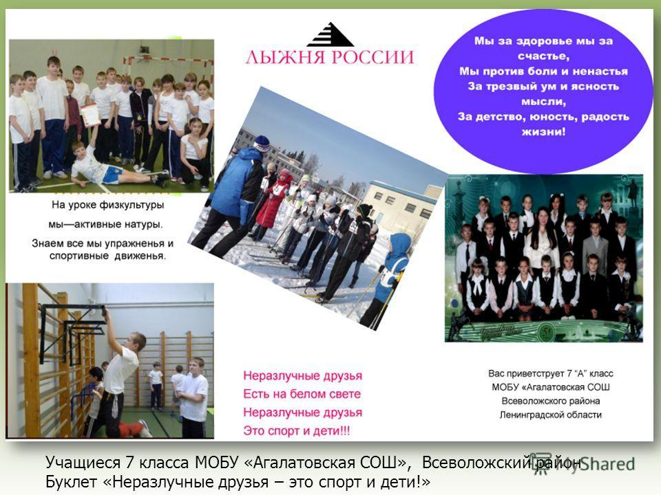 Учащиеся 7 класса МОБУ «Агалатовская СОШ», Всеволожский район Буклет «Неразлучные друзья – это спорт и дети!»