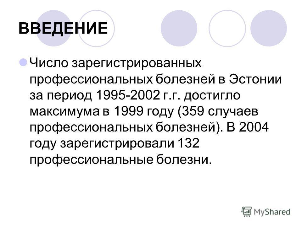 ВВЕДЕНИЕ Число зарегистрированных профессиональных болезней в Эстонии за период 1995-2002 г.г. достигло максимума в 1999 году (359 случаев профессиональных болезней). В 2004 году зарегистрировали 132 профессиональные болезни.