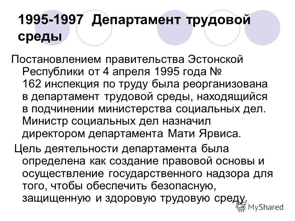 1995-1997 Департамент трудовой среды Постановлением правительства Эстонской Республики от 4 апреля 1995 года 162 инспекция по труду была реорганизована в департамент трудовой среды, находящийся в подчинении министерства социальных дел. Министр социал