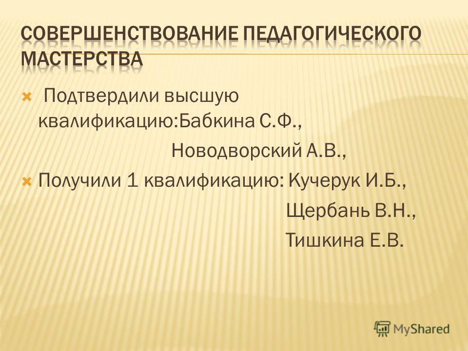Подтвердили высшую квалификацию:Бабкина С.Ф., Новодворский А.В., Получили 1 квалификацию: Кучерук И.Б., Щербань В.Н., Тишкина Е.В.