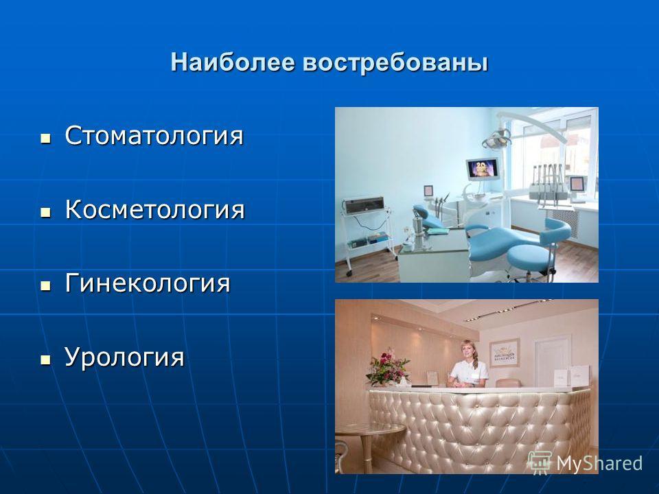 Наиболее востребованы Стоматология Стоматология Косметология Косметология Гинекология Гинекология Урология Урология