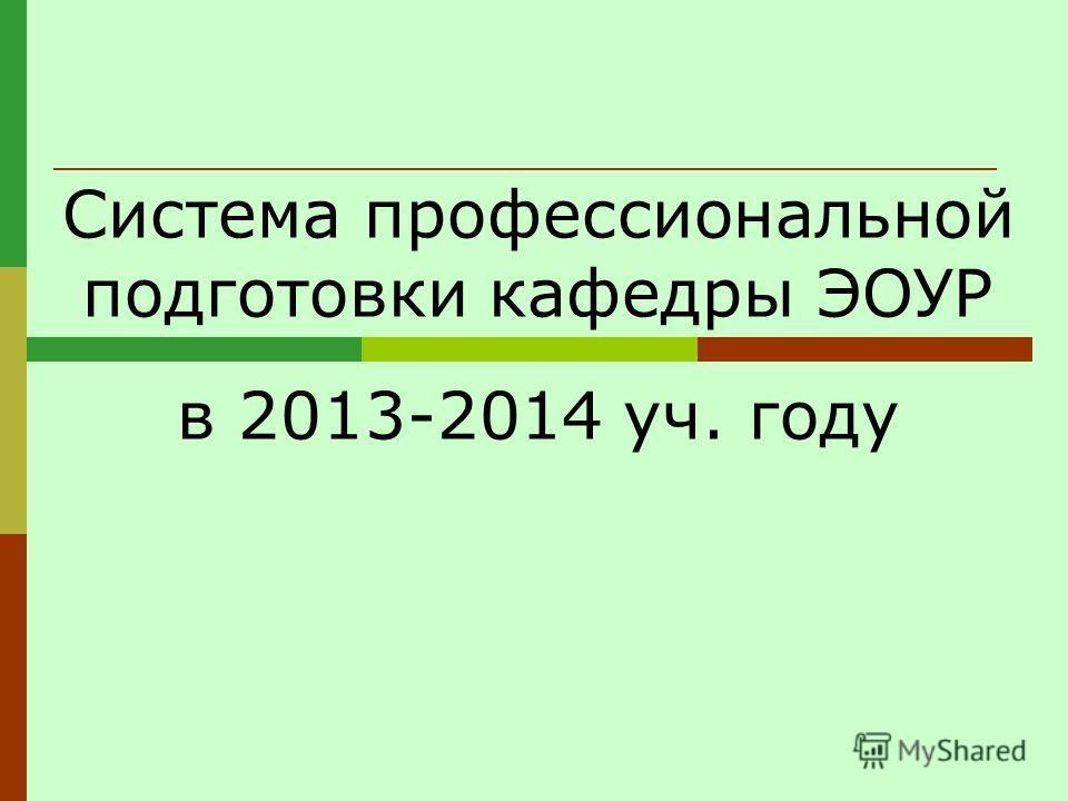 Система профессиональной подготовки кафедры ЭОУР в 2013-2014 уч. году