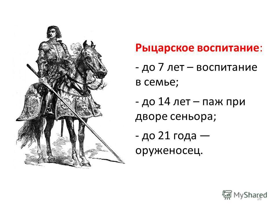 Рыцарское воспитание: - до 7 лет – воспитание в семье; - до 14 лет – паж при дворе сеньора; - до 21 года оруженосец. 16