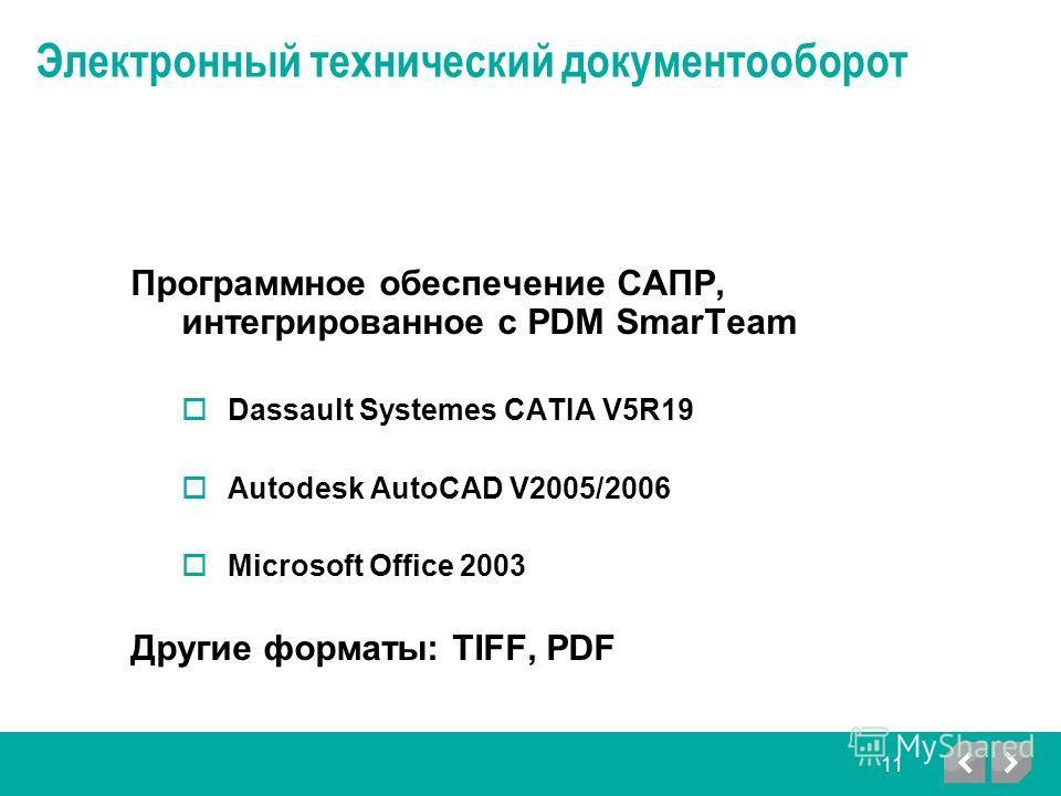 Электронный технический документооборот Программное обеспечение САПР, интегрированное с PDM SmarTeam Dassault Systemes CATIA V5R19 Autodesk AutoCAD V2005/2006 Microsoft Office 2003 Другие форматы: TIFF, PDF 11