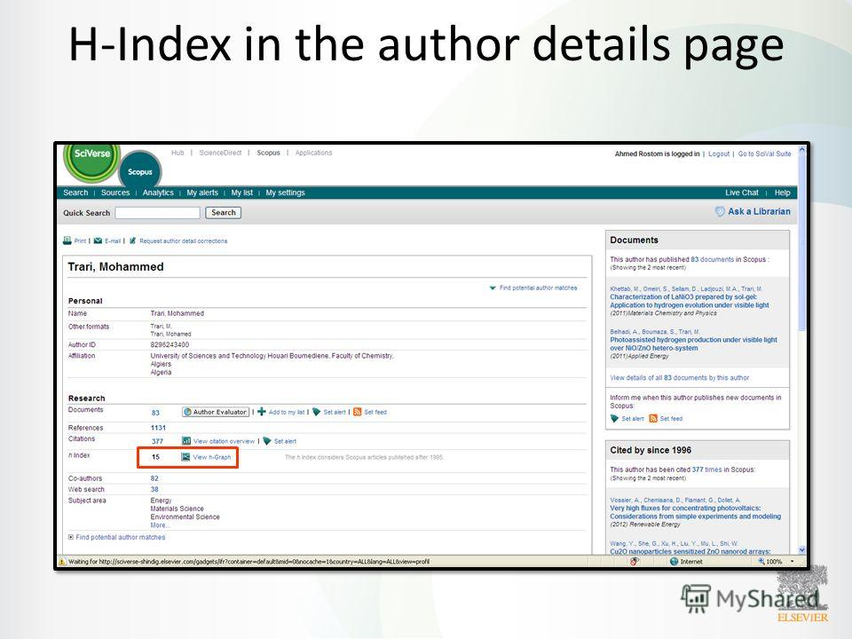 H-Index in the author details page