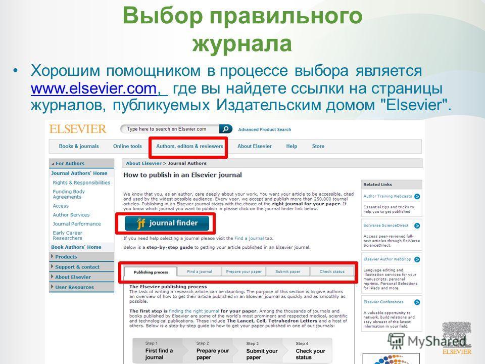 Выбор правильного журнала Хорошим помощником в процессе выбора является www.elsevier.com, где вы найдете ссылки на страницы журналов, публикуемых Издательским домом Elsevier. www.elsevier.com