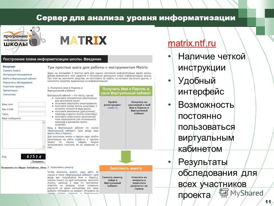 Сервер для анализа уровня информатизации 11 matrix.ntf.ru Наличие четкой инструкции Удобный интерфейс Возможность постоянно пользоваться виртуальным кабинетом Результаты обследования для всех участников проекта