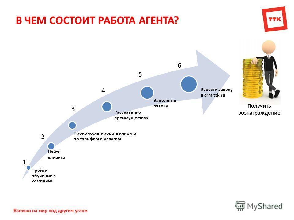 В ЧЕМ СОСТОИТ РАБОТА АГЕНТА? Пройти обучение в компании Найти клиента Проконсультировать клиента по тарифам и услугам Рассказать о преимуществах Заполнить заявку 1 2 5 4 3 Завести заявку в crm.ttk.ru 6 Получить вознаграждение