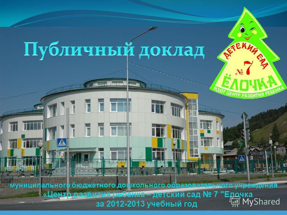 муниципального бюджетного дошкольного образовательного учреждения «Центр развития ребенка – детский сад 7 Елочка за 2012-2013 учебный год