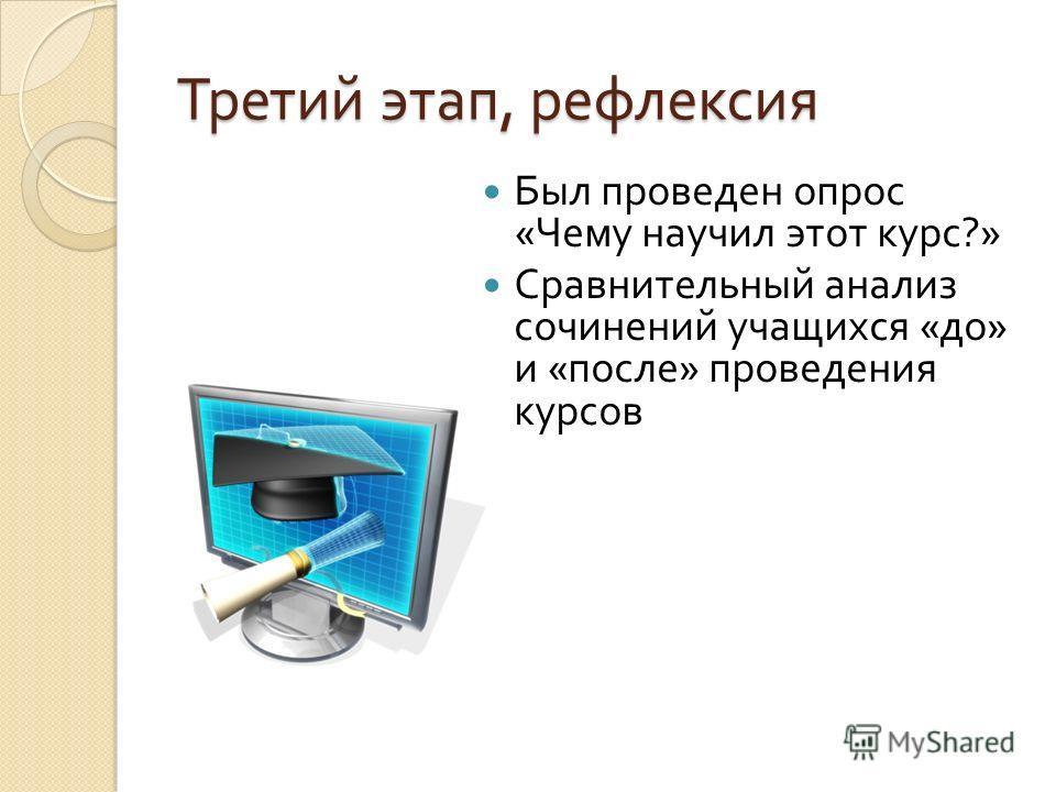 Третий этап, рефлексия Был проведен опрос « Чему научил этот курс ?» Сравнительный анализ сочинений учащихся « до » и « после » проведения курсов