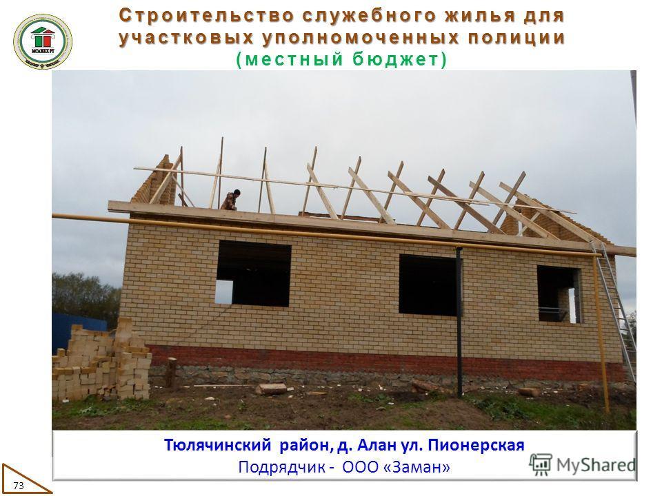 Строительство служебного жилья для участковых уполномоченных полиции (местный бюджет) 73 Тюлячинский район, д. Алан ул. Пионерская Подрядчик - ООО «Заман»
