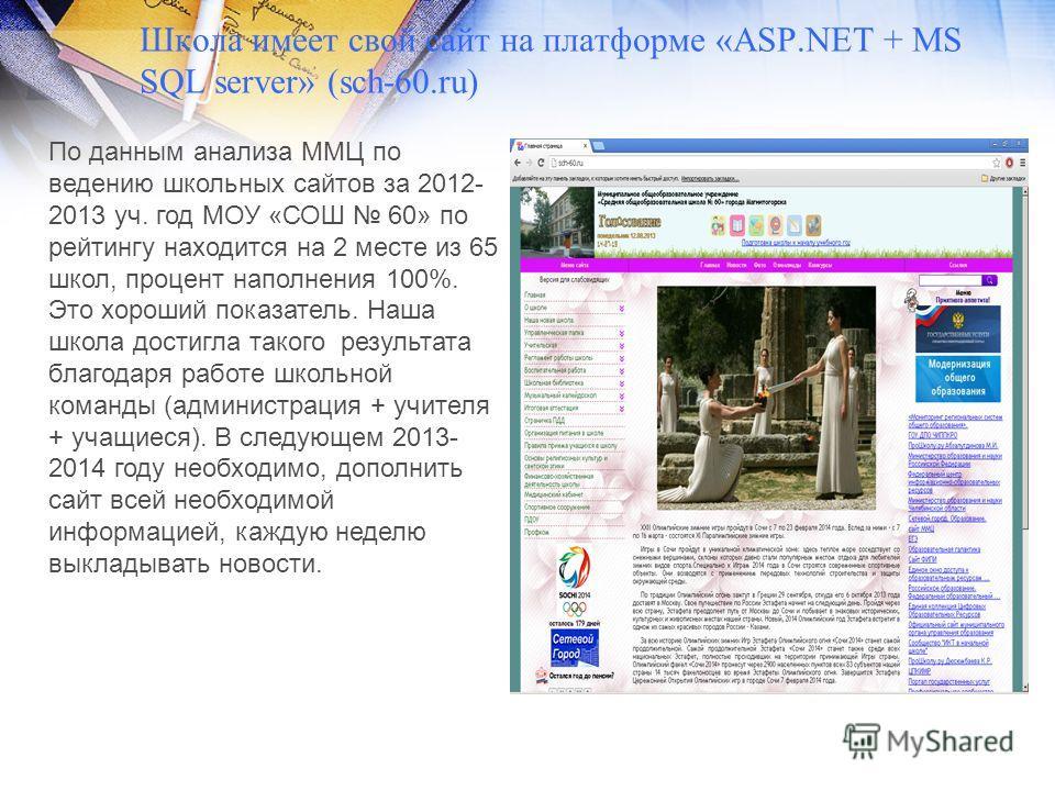Школа имеет свой сайт на платформе «ASP.NET + MS SQL server» (sch-60.ru) По данным анализа ММЦ по ведению школьных сайтов за 2012- 2013 уч. год МОУ «СОШ 60» по рейтингу находится на 2 месте из 65 школ, процент наполнения 100%. Это хороший показатель.