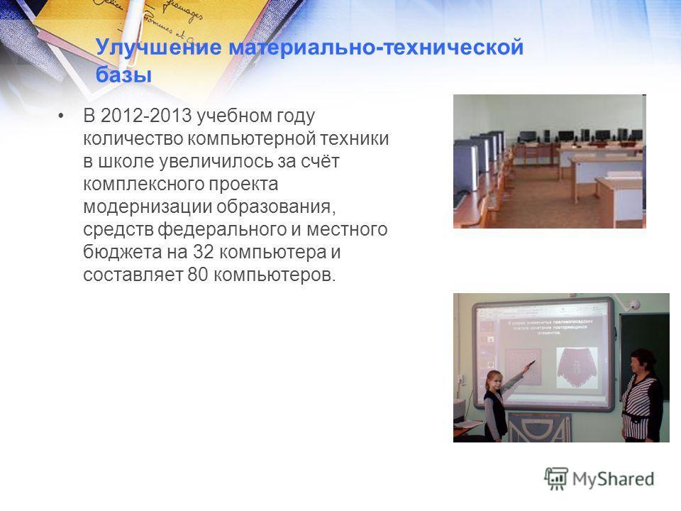 Улучшение материально-технической базы В 2012-2013 учебном году количество компьютерной техники в школе увеличилось за счёт комплексного проекта модернизации образования, средств федерального и местного бюджета на 32 компьютера и составляет 80 компью