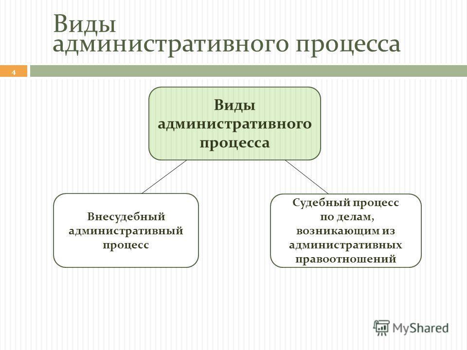 Виды административного процесса 4 Внесудебный административный процесс Судебный процесс по делам, возникающим из административных правоотношений