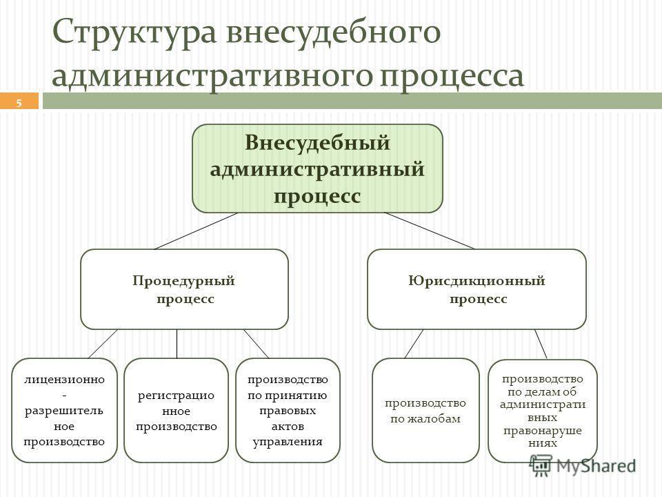 Структура внесудебного административного процесса 5 Внесудебный административный процесс Процедурный процесс Юрисдикционный процесс производство по жалобам производство по делам об администрати вных правонаруше ниях лицензионно - разрешитель ное прои