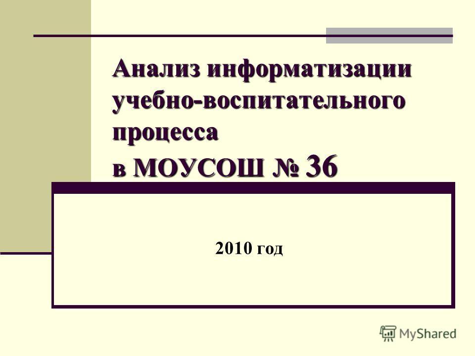 Анализ информатизации учебно-воспитательного процесса в МОУСОШ 36 2010 год