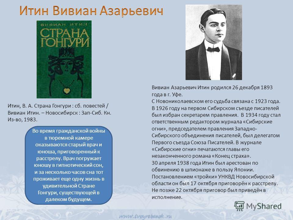 Вивиан Азарьевич Итин родился 26 декабря 1893 года в г. Уфе. С Новониколаевском его судьба связана с 1923 года. В 1926 году на первом Сибирском съезде писателей был избран секретарем правления. В 1934 году стал ответственным редактором журнала «Сибир