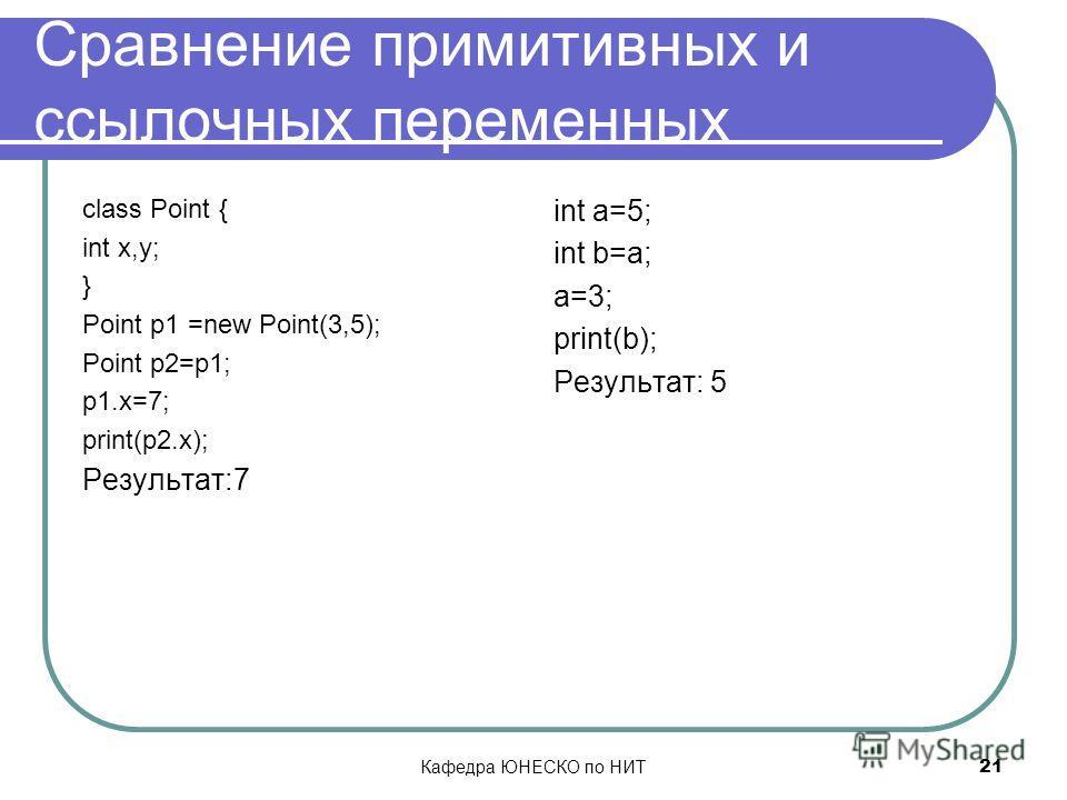 Кафедра ЮНЕСКО по НИТ 21 Сравнение примитивных и ссылочных переменных class Point { int x,y; } Point p1 =new Point(3,5); Point p2=p1; p1.x=7; print(p2.x); Результат:7 int a=5; int b=a; a=3; print(b); Результат: 5