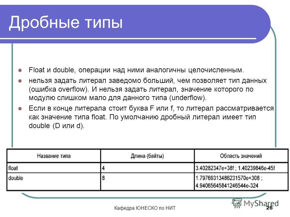 Кафедра ЮНЕСКО по НИТ 26 Дробные типы Float и double, операции над ними аналогичны целочисленным. нельзя задать литерал заведомо больший, чем позволяет тип данных (ошибка overflow). И нельзя задать литерал, значение которого по модулю слишком мало дл