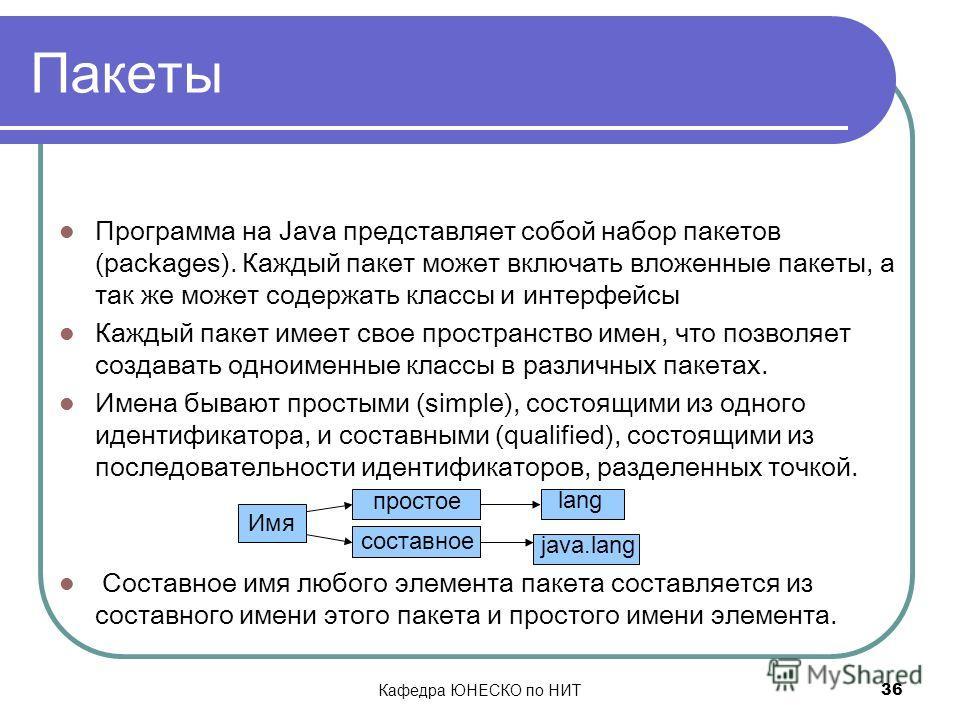 Кафедра ЮНЕСКО по НИТ 36 Пакеты Программа на Java представляет собой набор пакетов (packages). Каждый пакет может включать вложенные пакеты, а так же может содержать классы и интерфейсы Каждый пакет имеет свое пространство имен, что позволяет создава