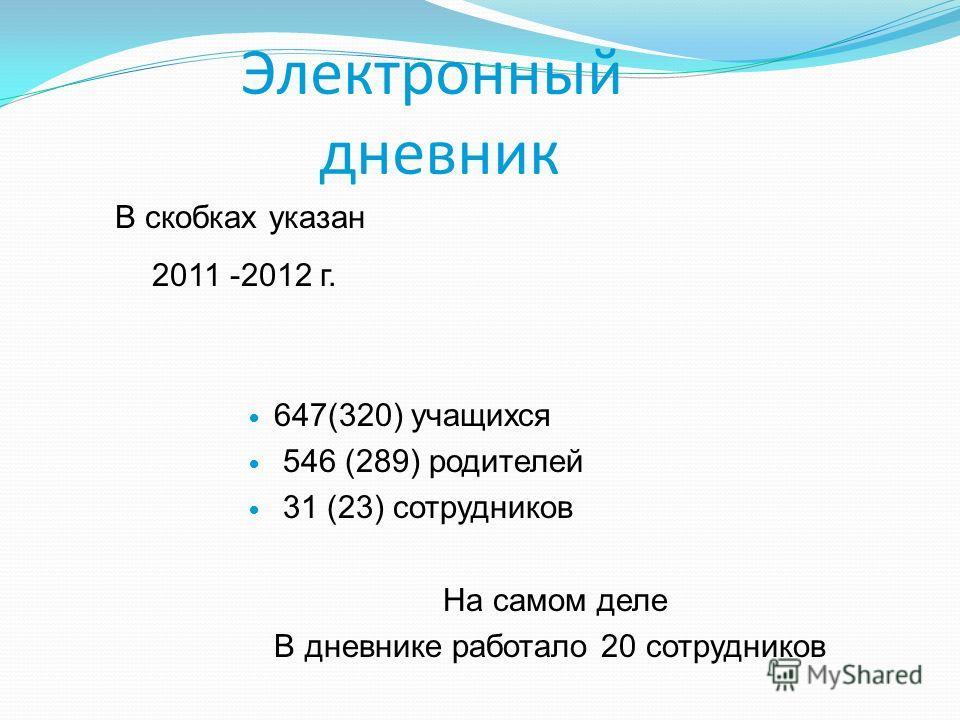 Электронный дневник 647(320) учащихся 546 (289) родителей 31 (23) сотрудников На самом деле В дневнике работало 20 сотрудников В скобках указан 2011 -2012 г.