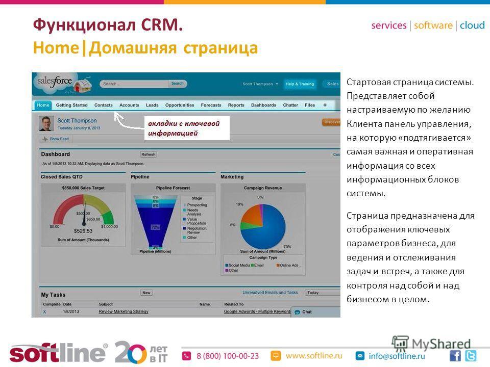Функционал CRM. Home|Домашняя страница Стартовая страница системы. Представляет собой настраиваемую по желанию Клиента панель управления, на которую «подтягивается» самая важная и оперативная информация со всех информационных блоков системы. Страница