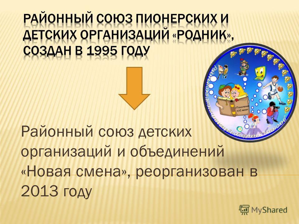 Районный союз детских организаций и объединений «Новая смена», реорганизован в 2013 году