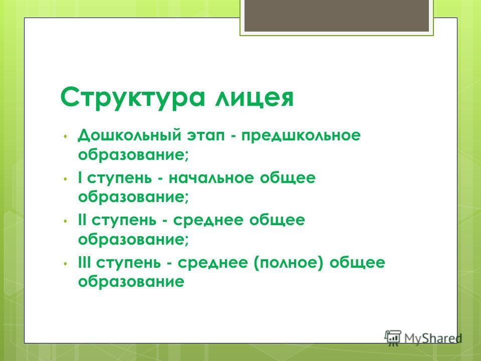 Структура лицея Дошкольный этап - предшкольное образование; I ступень - начальное общее образование; II ступень - среднее общее образование; III ступень - среднее (полное) общее образование