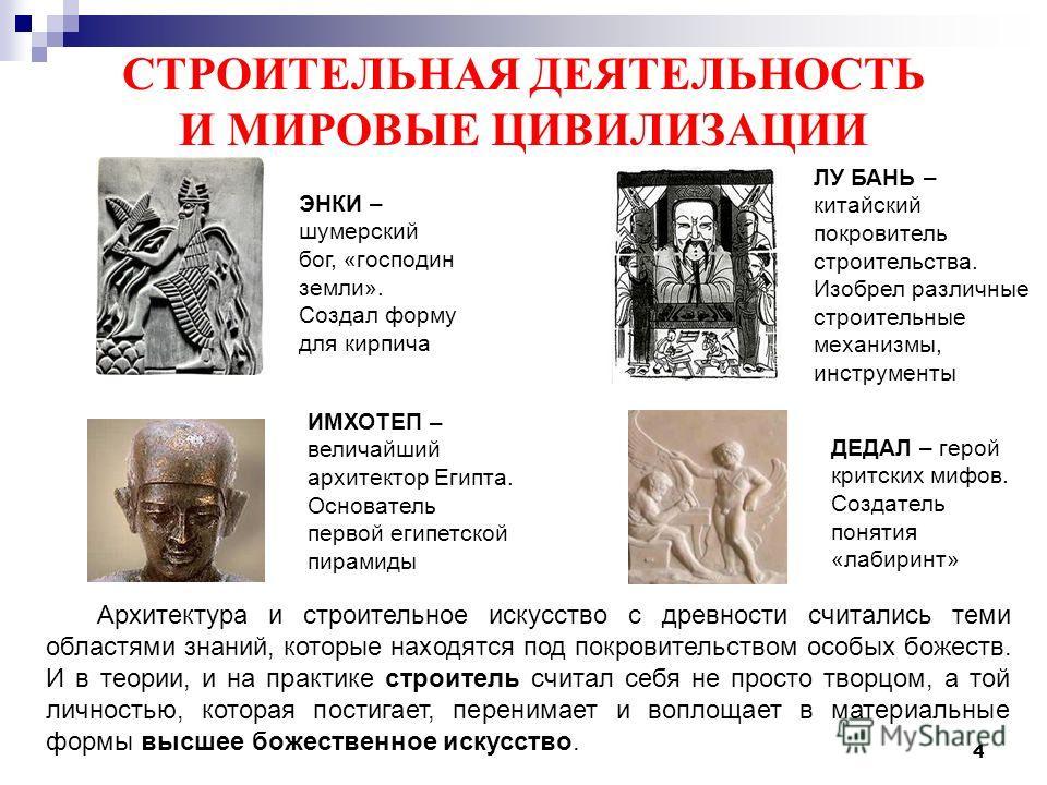 4 СТРОИТЕЛЬНАЯ ДЕЯТЕЛЬНОСТЬ И МИРОВЫЕ ЦИВИЛИЗАЦИИ Архитектура и строительное искусство с древности считались теми областями знаний, которые находятся под покровительством особых божеств. И в теории, и на практике строитель считал себя не просто творц