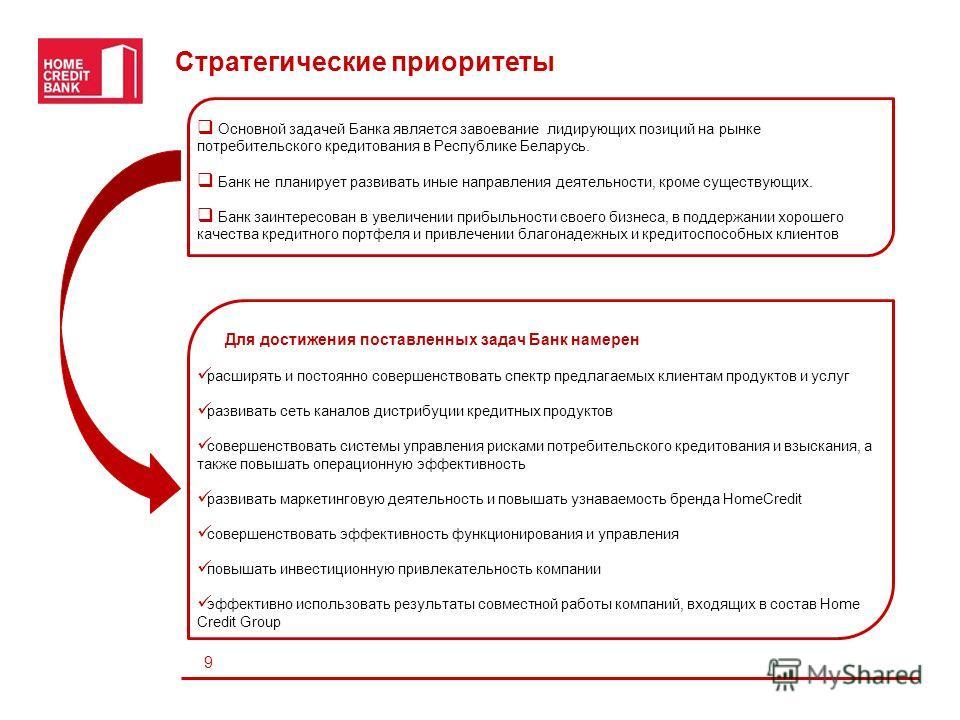 Lines Стратегические приоритеты 9 Для достижения поставленных задач Банк намерен расширять и постоянно совершенствовать спектр предлагаемых клиентам продуктов и услуг развивать сеть каналов дистрибуции кредитных продуктов совершенствовать системы упр