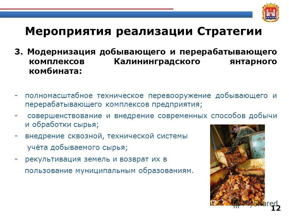 Мероприятия реализации Стратегии 3. Модернизация добывающего и перерабатывающего комплексов Калининградского янтарного комбината: -полномасштабное техническое перевооружение добывающего и перерабатывающего комплексов предприятия; - совершенствование