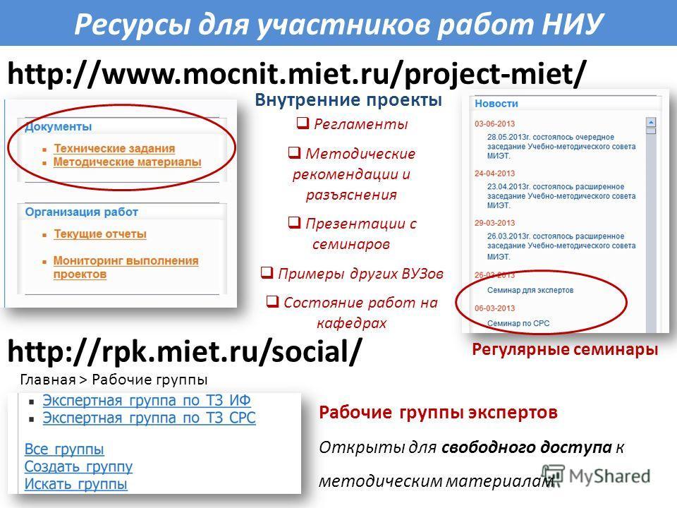 http://www.mocnit.miet.ru/project-miet/ Ресурсы для участников работ НИУ http://rpk.miet.ru/social/ Регулярные семинары Рабочие группы экспертов Открыты для свободного доступа к методическим материалам Регламенты Методические рекомендации и разъяснен