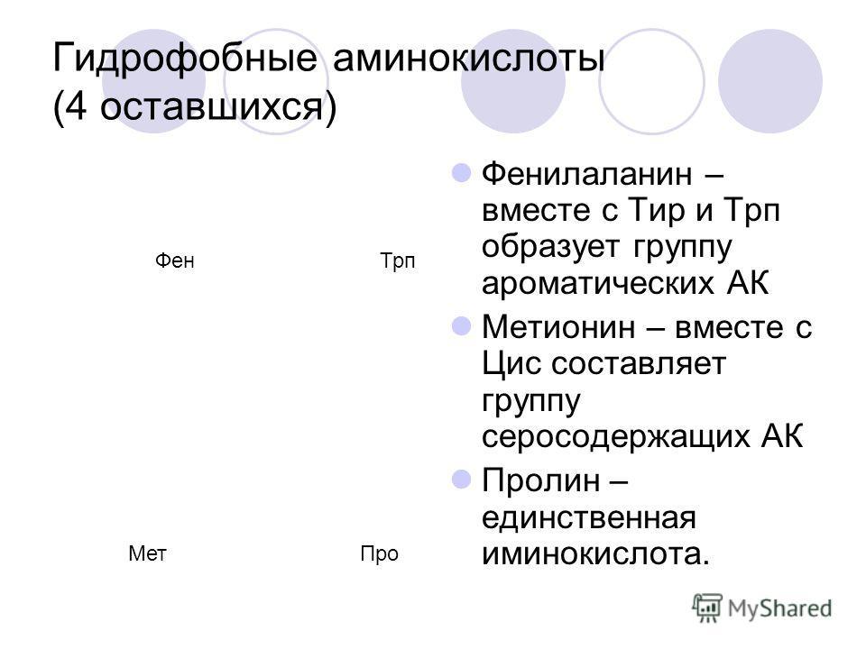 Гидрофобные аминокислоты (5 алифатических) Гли Ала Вал Лей Иле