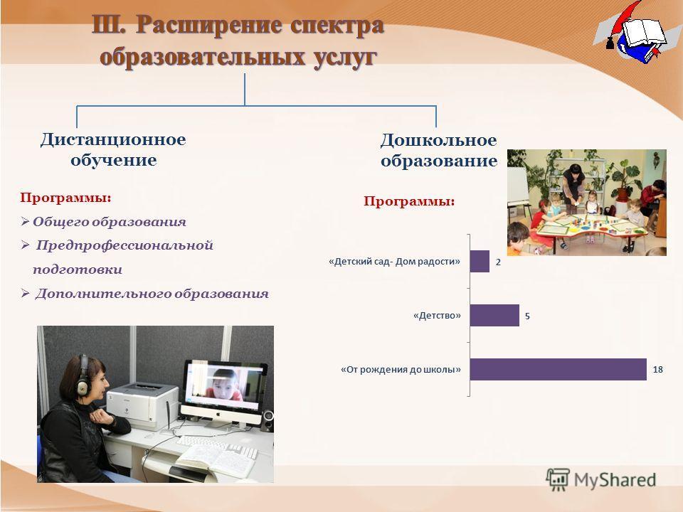 Дистанционное обучение Дошкольное образование Программы: Общего образования Предпрофессиональной подготовки Дополнительного образования Программы: