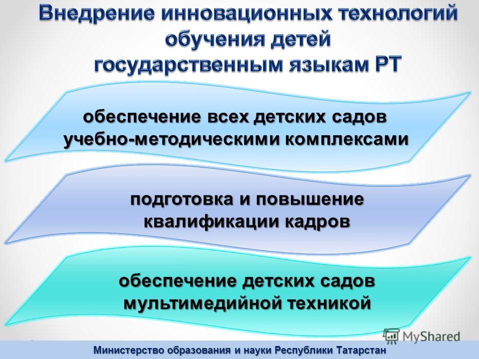 Министерство образования и науки Республики Татарстан обеспечение всех детских садов учебно-методическими комплексами подготовка и повышение квалификации кадров обеспечение детских садов мультимедийной техникой